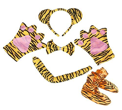 irnband Schleife Schwanz Handschuh Schuh 5Party Kostüm für Kinder (Tiger Kostüm Stirnband)