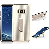 para Samsung Galaxy S8 Plus Case, HengJun TPU + PC Draw Bar Horizontal Vertical Diseño Creativo 2in1 Soporte de Soporte Seismic Anti-Shock Doble Funda Protectora para Samsung Galaxy S8 Plus - Dorado
