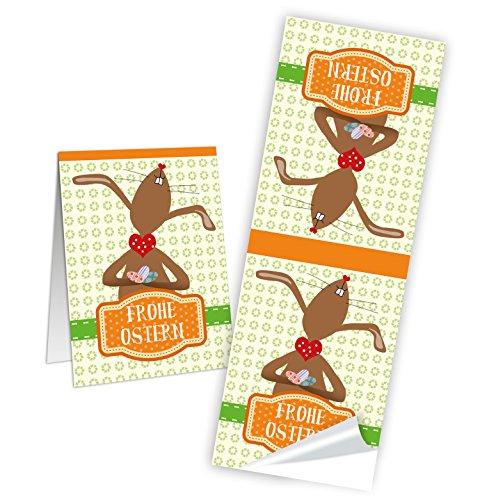 """Preisvergleich Produktbild 25 Stück lange braun orange grüne """"Frohe Ostern Aufkleber"""" lustigem Häschen - faltbar oder aus 1 macht 2 zum Halbieren - um Geschenktüten, Ostertüten u. Briefumschläge, Geschenke zu verschönern; Größe: 5 x 14,8 cm"""
