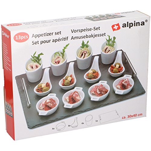 Alpina Vorspeisen Set 13 tlg mit Schieferplatte Servierschalen Fingerfood