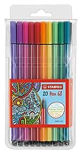 STABILO Pen 68 - Pochette de 20 feutres pointe moyenne - Coloris assortis