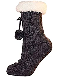 Ladies Cable Knit Slipper Sock Furry Fleece Lined Warm Non-Slip Bootee