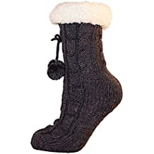 Ladies Cable Knit Slipper Calcetines con interior de forro polar cálido antideslizante en plata