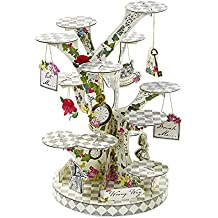 Talking Tables Truly Alice in Wonderland Treat Stand for Tea Party, Weddings and Birthday Party, Mad Hatter Party, Multicolour, H59 x Dia 24cm