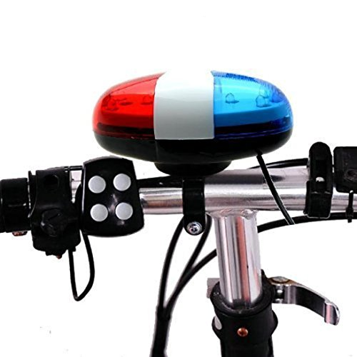 HCFKJ 6 Led 4 Sounds Horn Bell Ring Polizeiauto Licht Trompete FüR Fahrrad