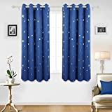Deconovo Stars Foil Printed Thermal Insulated Ready Made Curtains Eyelet Blackout Curtains for Kids Bedroom 46 x 54 Inch Blue One Pair