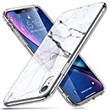 ESR Coque pour iPhone XR Silicone, Coque avec Revêtement Arrière en Verre Trempé, Bords Couvrants en Silicone TPU Souple pour Apple iPhone XR (2018) 6,1 Pouces (Série Crystal, Blanc Arabescato)