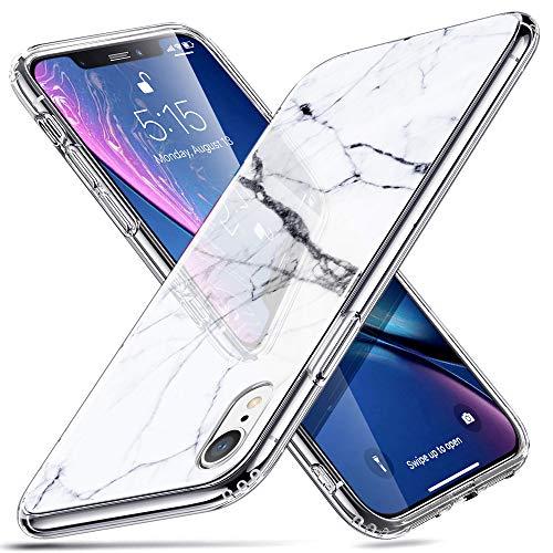 ESR iPhone XR Hülle, Marmor Design Hochwertig Gehärtetes Glas Back Cover Handyhülle Kratzfest Handy Schutzhülle für iPhoneXR (6,1 Zoll) -White Sierra