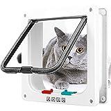 Grway Katzenklappe 4 Wege Magnet-Verschluss Katzentür Installieren Leicht Haustierklappe Hundeklappe Weiß (M)
