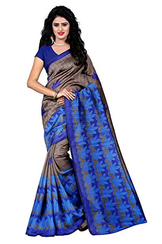 PRAMUKH STORE Cotton Silk Saree With Blouse Piece (Blue Star_Free Size)