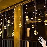 BLOOMWIN Lichtervorhang 3 * 0.65M LED Kugel Warmweiß, 120LED Girland Fairy Curtain Light Weihnachtsdeko Fensterdeko Dekobeleuchtung für Innen, Wand, Fenster, Tür [Energieklasse A]