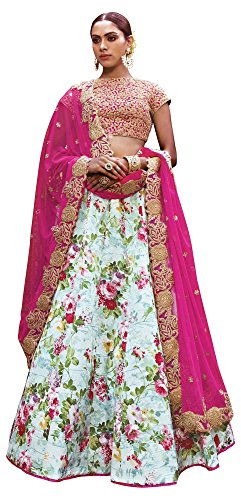 Gajiwala Sarees Women's Satin Unstitched Lehenga Choli (Multi-Coloured)
