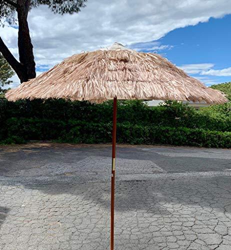 Eurolandia ombrellone rafia 200 cm color sabbia palo in legno stecche bamboo e sfiatatoio
