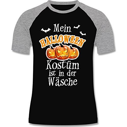 Halloween - Mein Halloween Kostüm ist in der Wäsche - M - Schwarz/Grau meliert - L140 - zweifarbiges Baseballshirt für (Oktober Kostüme Halloween)