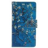 Galaxy S3 Hülle, Galaxy S3 Neo Hülle, Galaxy S III Hülle,Galaxy S III Neo Hülle,Galaxy S3 Case [Perfect Fit], ISAKEN Zeichnung Drucken Bunte Muster PU Leder Flip Magnetverschluss Wallet Kreditkarte ID Card Slots Handy Hülle für Galaxy S3, Tasche für Galaxy S3, Muster Ledertasche Hülle für Samsung Galaxy S3 I9300 / S3 Neo i9301 - Blue Plum Flower Tree