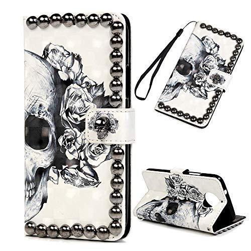 Phone CASE Home Moto G5S Plus Hülle - 3D handgefertigte Bling Brieftasche Flip Cover Sparkly Kristall Diamanten Edelsteine   Magnetischer Punk-Schädel Fall Kartensteckplätze Ständerabdeckung für Moto (Schädel-fall Moto E)