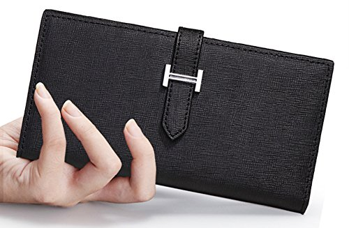 Longzibog Dual verstellbare Schultergurte und Hängeschlaufenband Mode geldbörse damen lang Saphirblau