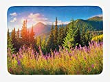 BHWYK Landscape Bath Mat, Fall Landscape Picture in Mountains with Flowers Alpine Trees Forest at Sunrise, Plush Bathroom Decor Mat with Non Slip Backing, 23.6 W X 15.7 W Inches, Green Pink