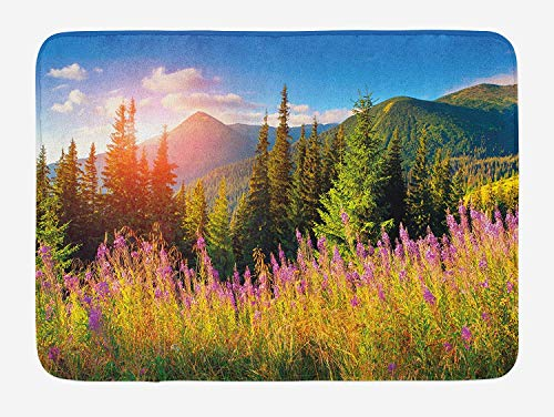 JIEKEIO Landscape Bath Mat, Fall Landscape Picture in Mountains with Flowers Alpine Trees Forest at Sunrise, Plush Bathroom Decor Mat with Non Slip Backing, 23.6 W X 15.7 W Inches, Green Pink Alpine Slip