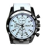 Goosuny Herrenuhr Männer Edelstahl Luxusuhren Analog Quarzuhr Armbanduhr Günstige Uhren Modische Sport Mode Modern Männeruhren Uhrherren Armbanduhren Herrenarmbanduhr Chronograph (Weiß)