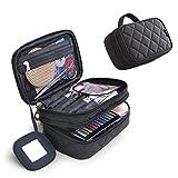 Makeup Taschen Kosmetiktasche, Tragbare Cosmetic Bag, HengBo 2 Layer Beauty Pinsel Kulturbeutel mit Spiegel - Schwarz