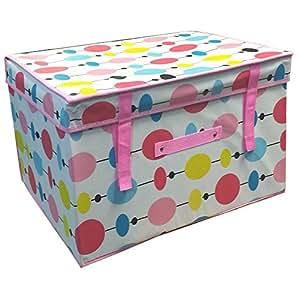 FunkyBuys® High Quality Folding MULTICOLOR BEADS Kids Room Tidy Toy Box Lid Jumbo Storage Box 50 x 30 x 40 cm
