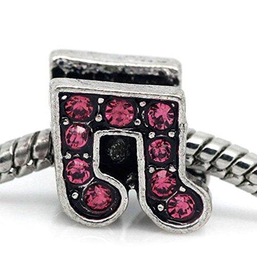 Sexy paillettes Femme sur balançoire–Charms pour Bracelet Rose vif