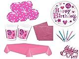 XL Party Deko Set Happy Birthday Mädchen pink rosa Kindergeburtstag für 8 Personen 50 teilig Mädchen Geburtstag Mädchen Party Geschirr Einweg Party Deko