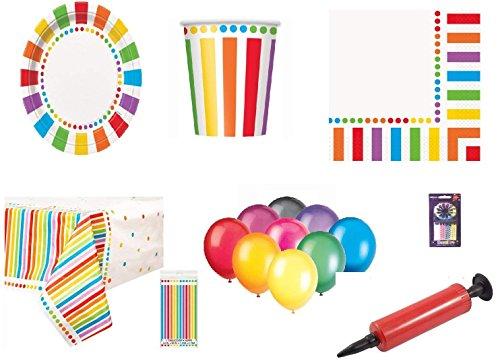 Rainbow Party Kids Geburtstag Dekoration-Rainbow Plates Cups Servietten Tischdecken Kostenlose 25 Ballons Kerzen Ballon Pump-32 Gäste