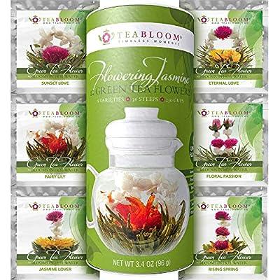 Fleurs de thé Teabloom au meilleur prix - 12 fleurs par cartouche - 36 infusions, 250 tasses - Fleurs de thé vert au jasmin