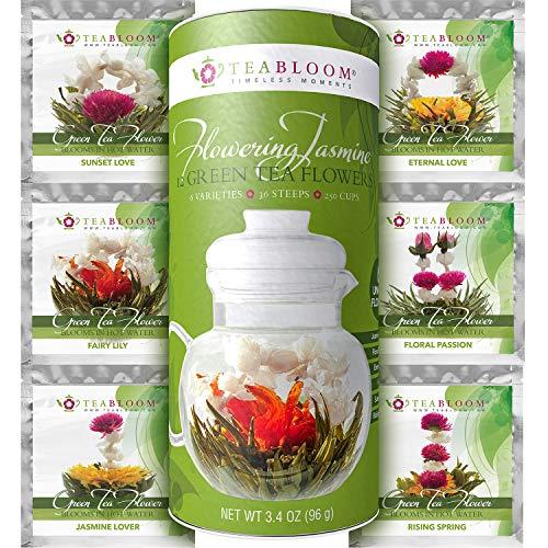 Té de Flores de Teabloom - Pack de 12-36 infusiones, para 250 tazas - Flores de Té Verde con Jazmín