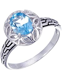 Sterling Silver Swiss Blue Topaz Ring (1.10 CT)