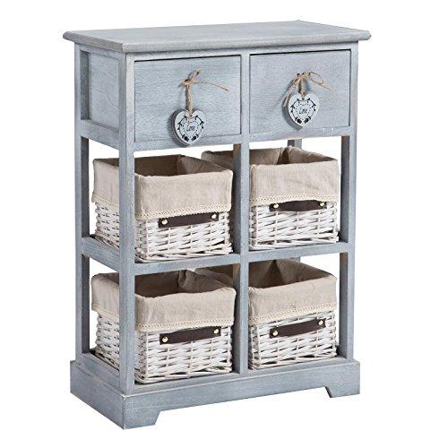 CARO-Möbel Kommode Rocco Mehrzweckschrank Schubladenkommode Anrichte grau, Shabby Chic Vintage Look, mit 2 Schubladen und 4 Körben