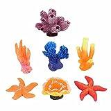 GOOTRADES 7 Stk Mini Künstliche Korallen Pflanzen für Fisch Tank