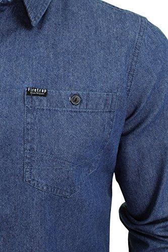 Firetrap Herren Hemden mit Lockerem Schnitt Mens Shirt Garrick, One size Garske - Mid Wash