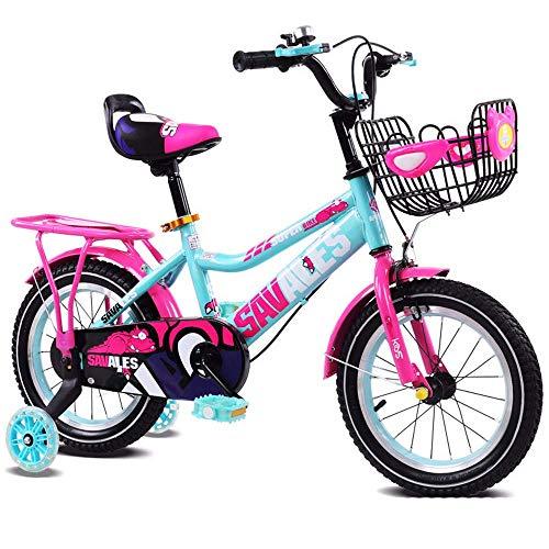WZB-Fitnessgeräte Durable Kinderfahrrad Kids Boys Gilrs Bike mit Stabilisatoren 12inch Alter 3-5Y rutschfest (Farbe: Pink)