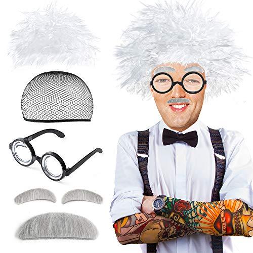 Beelittle Old Man Mad Wissenschaftler Perückenset Albert Einstien Opa Kostüm - Perücke, Augenbrauen, Schnurrbart, Brilke Kappe Brille Brillen Ketten Armband Perlenkette - 5 Stück (C)