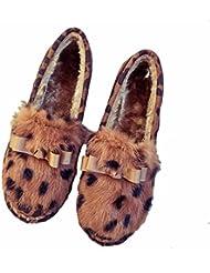 DM&Y 2017 Rex arco de Corea del pelo de los zapatos ocasionales del tal¨®n bajo plano inferior suave muffin de costura . f053 leopard print . 37