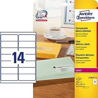 Avery Zweckform L7563-25 Universal Address Labels 25 Sheets / 350 Labels / 99.1 x 38.1 mm/Transparent