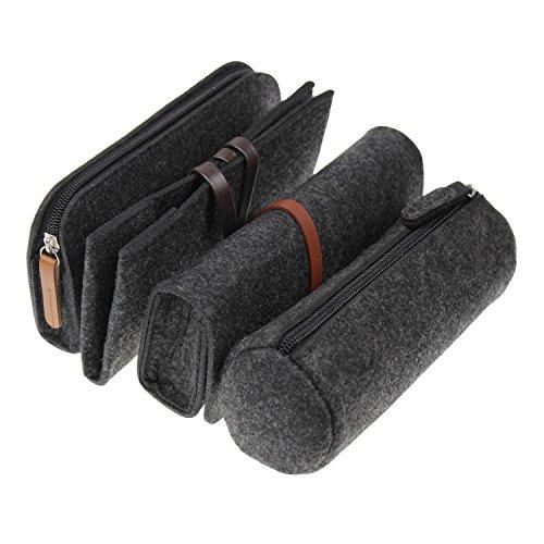 LJY Multifunktions-Filzstift Stiftstift Schreibwaren Tasche Reißverschluss Kosmetik Organizer Taschen, Dunkelgrau, 4er Set (Reißverschluss Multifunktions-organizer Mit)