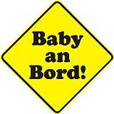 1 Auto-Aufkleber Baby an Bord neutral I kfz_105 I 10 x 10 cm groß I Sticker für Scheibe I Hinweis-Aufkleber viereckig Raute wetterfest