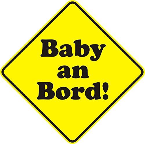 1 Auto-Aufkleber Baby an Bord neutral I kfz_105 I 15 x 15 cm groß I Sticker für Scheibe I Hinweis-Aufkleber viereckig Raute wetterfest