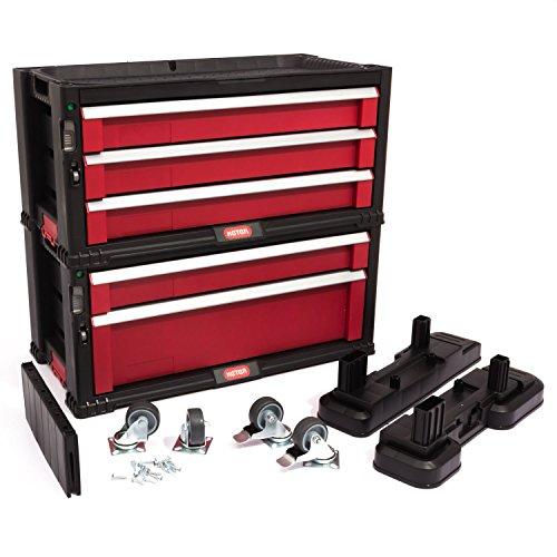Keter 5 Drawer Tool Chest Set Acetal Slides, 1 Stück, schwarz / rot / silber, 17199301 - 4