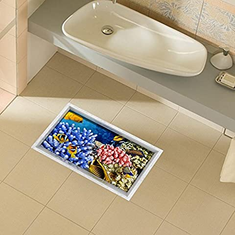 FEI&S 3D baño, sala de estar el suelo geklebt HD estanco rutschfest los autoadhesivos insignias skitchen comedor cuarto de baño en el suelo de 900*580mm (35,4 en*22,8 en)