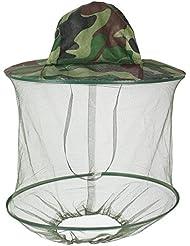 Vert Camouflage Pattern Casquette en filet de Nylon capuche Chapeau Anti-moustiques