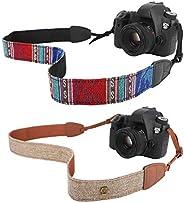 MoKo Camera Strap [2 Pack], Cotton Canvas Braided Adjustable Universal Sling Shoulder Neck Belt for All DSLR Digital Camera