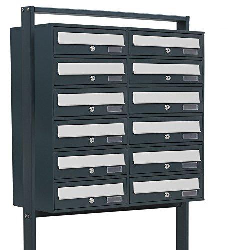 BITUXX® Design Doppel Stand-Briefkastenanlage Postkasten Letterbox Mailbox Edelstahl Briefklappe mit 12 Fächer Dunkelgrau