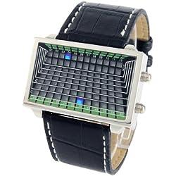 Blue LED Uhr mit Genuine Kunstleder Armband, Support Time/Date Display