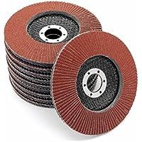 Disco abrasivo estándar de 115mm de diámetro, marrón, grano 60, 10 unidades