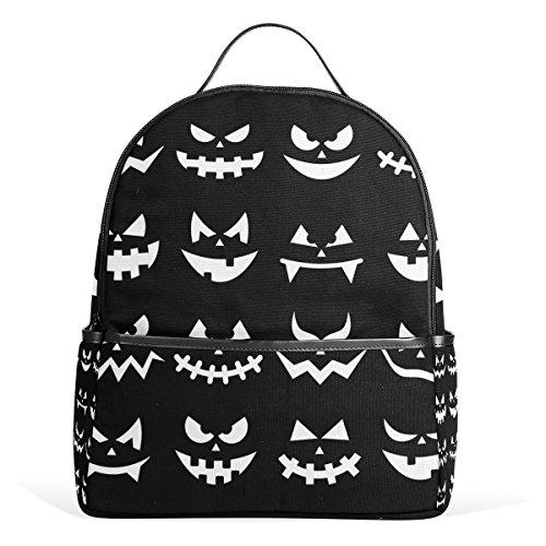 COOSUN Scary Halloween Kürbis-Gesichter auf schwarzen Hintergrund Schule Rucksäcke Bookbags für Junge Mädchen Teen Kinder Klein Mehrfarbig